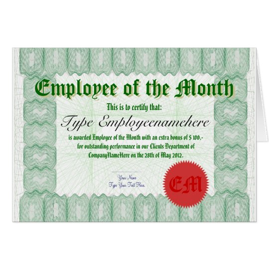 Make an Employee of the Month Certicate Award Card