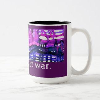 """Make Art Not War"" - Alcohol Ink Art Print Two-Tone Coffee Mug"