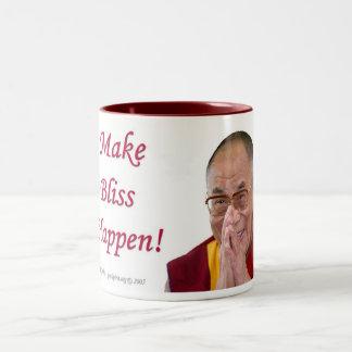 Make Bliss Happen! - Dalai Lama Two-Tone Mug