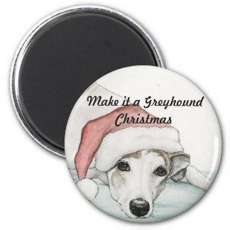 Make it a Greyhound Christmas Dog Art Magnet