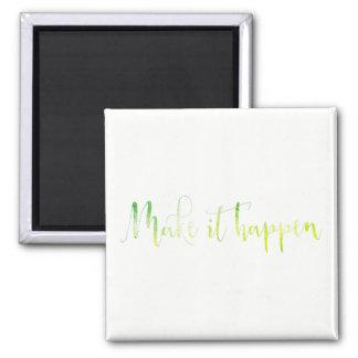 Make It Happen Dream Green White Mint Planning Magnet