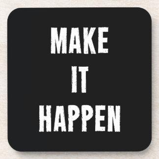 Make It Happen Motivational Black Coaster