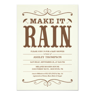 """Make it Rain"" Vintage Baby Shower Invitations"