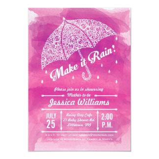 Make it Rain Watercolor Shower Invitation Pink