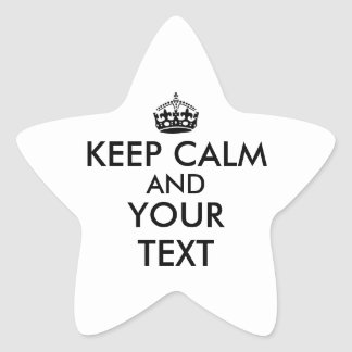 Make Keep Calm Star Stickers Your Color and Text