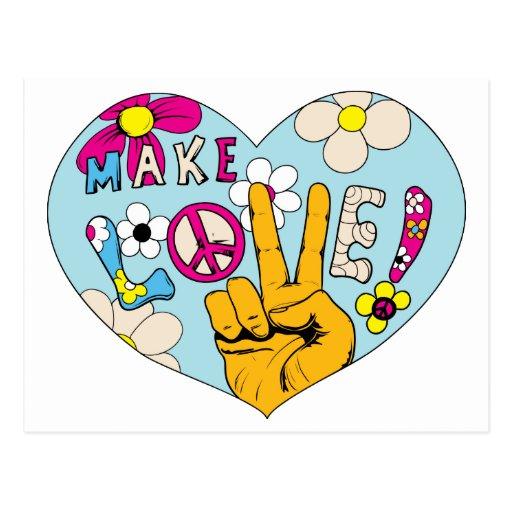 Make Love Not War ~ 60s Hippie Peace Sign Post Card