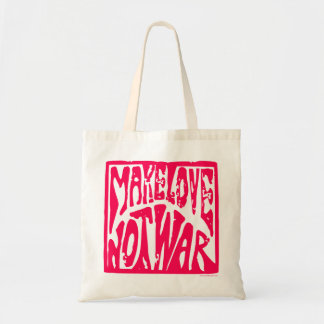 Make Love, Not War - Hippie Design for Peace Budget Tote Bag