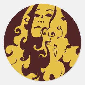 Make Love Not War Hippie Girl Round Sticker