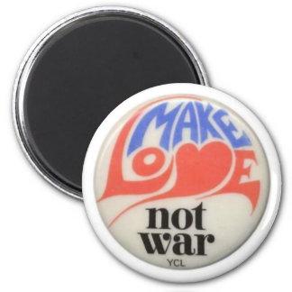 Make Love Not War Peace Art 6 Cm Round Magnet