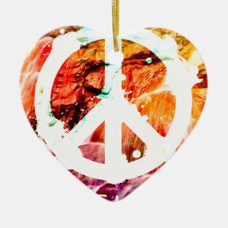 Make Love Not War Peace Ceramic Heart Decoration