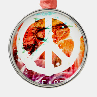 Make Love Not War Peace Silver-Colored Round Decoration