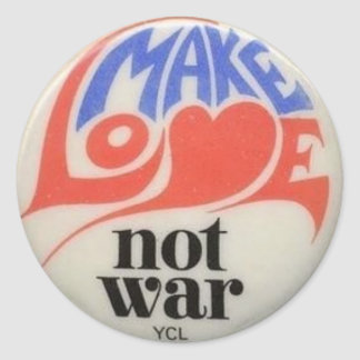 Make Love Not War Peace Symbol Classic Round Sticker