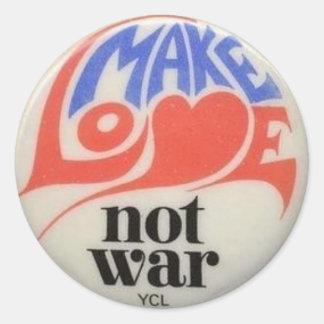 Make Love Not War Peace Symbol Round Sticker