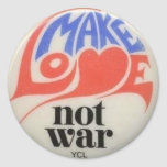 Make Love Not War Peace Symbol Round Stickers