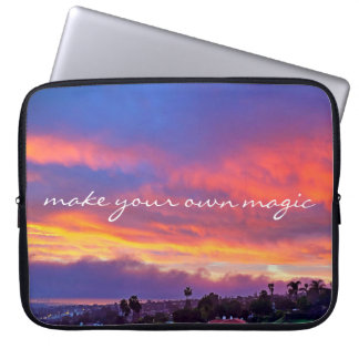 """Make magic"" pink blue sunrise photo laptop sleeve"