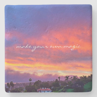 """Make Magic"" Quote Yellow Pink Blue Sunrise Photo Stone Coaster"