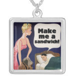 Make me a sandwich square pendant necklace