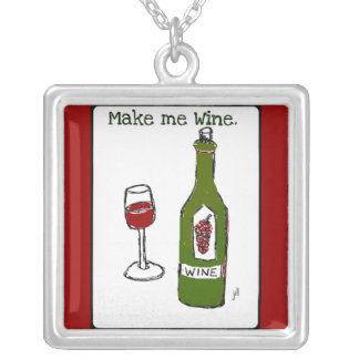 """MAKE ME WINE"" RED WINE PRINT SQUARE PENDANT NECKLACE"