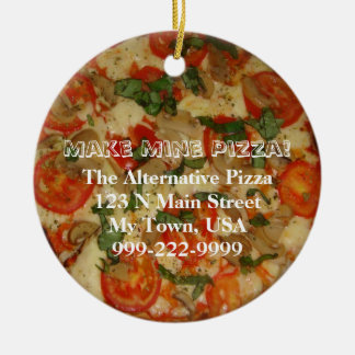 Make Mine Pizza! Customizable Text Christmas Ornament