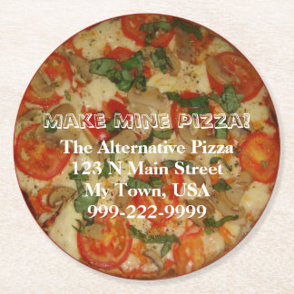 Make Mine Pizza! Customizable Text Round Paper Coaster