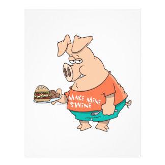 make mine swine funny pigging out pig hog cartoon 21.5 cm x 28 cm flyer