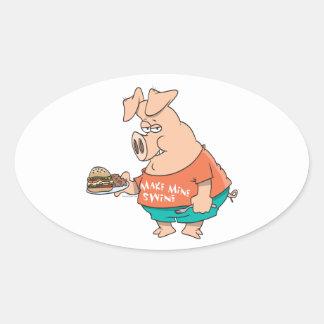 make mine swine funny pigging out pig hog cartoon stickers