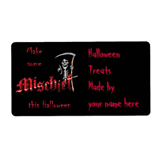Make Mischief Halloween Skeleton Shipping Label