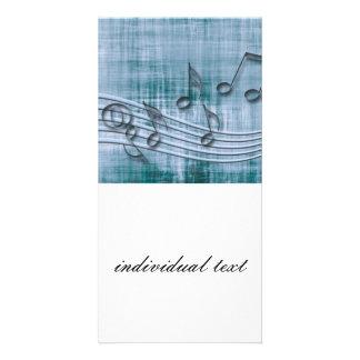 make music 03 blue custom photo card