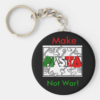 Make Pasta not war! Basic Round Button Key Ring