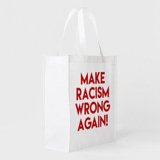Make racism wrong again! Anti Trump protest Reusable Grocery Bag
