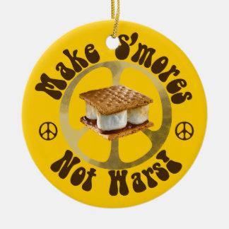 Make S'mores Not Wars Round Ceramic Decoration