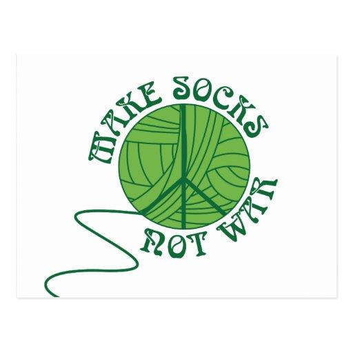 Make Socks Not War Knitting Design Post Cards