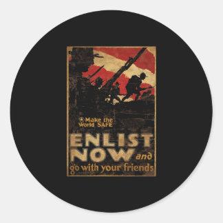 Make The World Safe Enlist Now Round Sticker