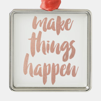 Make Things Happen Silver-Colored Square Decoration