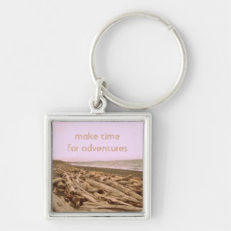 Make Time For Adventures Silver-Colored Square Key Ring