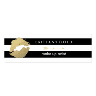 Make Up Artist Business Card - Chic Gold and Black