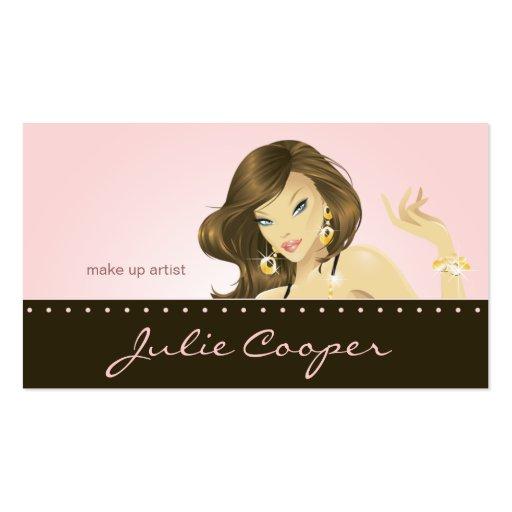 Make up Artist Business Card Pink Woman