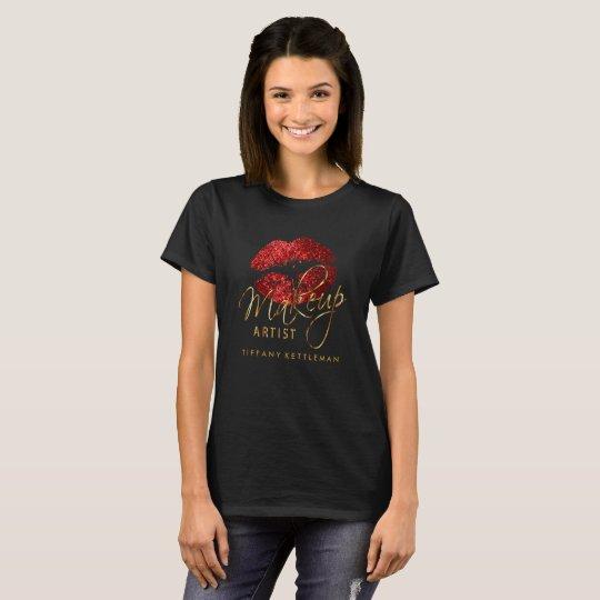 Make Up Artist Red Glitter Lips T-Shirt
