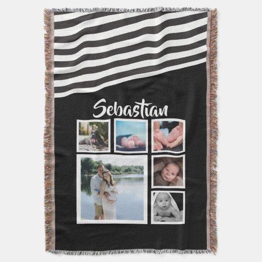 Make Your Own Black and White Striped Personalised Throw Blanket