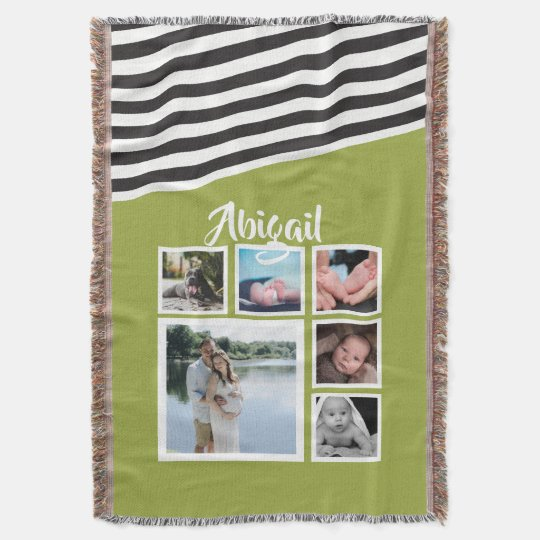 Make Your Own Bright Green Striped Personalised Throw Blanket