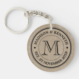 Make Your Own Burlap Retro Logo Monogram Key Ring