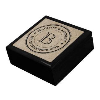 Make Your Own Burlap Retro Logo Monogram Large Square Gift Box
