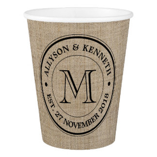 Make Your Own Burlap Retro Logo Monogram Paper Cup
