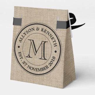 Make Your Own Burlap Retro Logo Monogram Party Favour Boxes