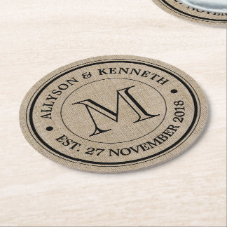 Make Your Own Burlap Retro Logo Monogram Round Paper Coaster
