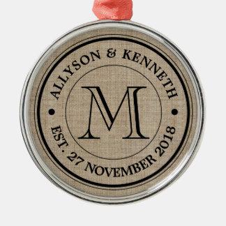 Make Your Own Burlap Retro Logo Monogram Silver-Colored Round Decoration