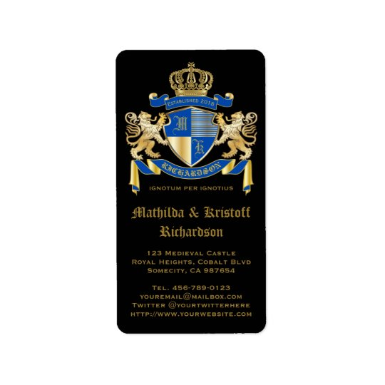 Make Your Own Coat of Arms Blue Gold Lion Emblem Label