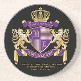Make Your Own Coat of Arms Monogram Crown Emblem Coaster