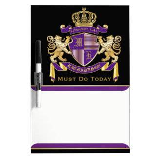 Make Your Own Coat of Arms Monogram Crown Emblem Dry Erase Board