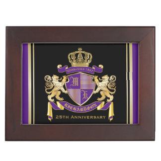 Make Your Own Coat of Arms Monogram Crown Emblem Keepsake Box